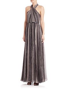 Halston Heritage - Belted Ring-Detail Cross Neck Pixel-Print Gown