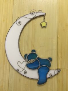 Baby blue bear over the moon stained glass