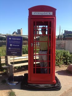 Viking's Fan in the phone booth on the Stone Arch Bridge in Minneapolis | #VikingsInUK