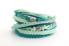 Boho Wrap Bracelet, Teal Mint Cream Bracelet, Cool Mint Bracelet, Gypsy Bracelet, Women Bracelet, Boho Bracelet, double wrap, boho chic by cardioceras on Etsy https://www.etsy.com/listing/227306202/boho-wrap-bracelet-teal-mint-cream
