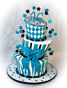 Sweet Sixteen Cake with beautiful colors and decorations