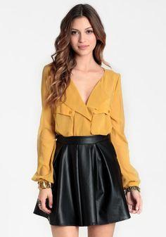 Minion Faux Leather Skirt #threadsence #fashion