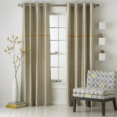 modern blue curtains and window treatments | Modern Stripe Silk Window Panel modern curtains
