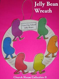 Cave City School Jelly Bean Wreath craft for kids. Sunday School Lessons, Sunday School Crafts, Winter Crafts For Kids, Winter Kids, Prayer Crafts, Preschool Crafts, Easter Crafts, Kids Crafts, Toddler Bible