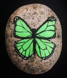 Green Monarch Butterfly Hand Painted Rock via Etsy