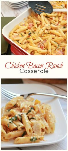 This Chicken Bacon Ranch Casserole or 'Baked Chicken Bacon Pasta Ranch Cheese Casserole'. YUM! Freezes well, for those nights when you need dinner quick.