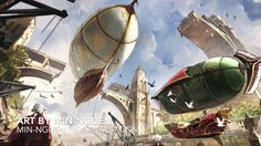 Want to discover art related to steampunk? Check out inspiring examples of steampunk artwork on DeviantArt, and get inspired by our community of talented artists. Steampunk Ship, Steampunk Kunst, Steampunk City, Fantasy Places, Fantasy World, Fantasy Art, Fantasy Landscape, Landscape Art, Zeppelin