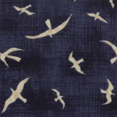 MODA Cotton Fabric - Hearty Good Wishes Ocean Blue - Novelty Seagulls by Janet Clare www.sewsister.co.uk
