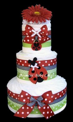 Baby Shower Pamper Centerpiece | Ladybug Garden Baby Shower Diaper Cake Centerpiece