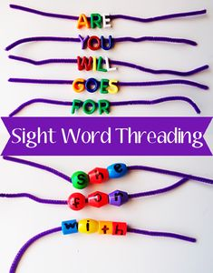 Literacy Activities: Threading Sight Words - A fun way of revising the high frequency sight words - Threading onto pipe cleaners made the process of threading each letter much quicker and helped to keep the focus on the word and it's combination of letter sounds - If you don't have any letter beads, you can make your own. Give your threading beads (ours were chunky plastic beads) a letter to each bead with a permanent marker. You could also write the letter on a small dot sticker.