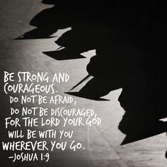 Be strong and courageous. Do not be afraid; do not be discouraged, for the Lord your God will be with you wherever you go. ~ Joshua 1:9