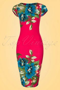 Vintage Chic for TopVintage - 60s Aloha Tropical Garden Short Sleeves Pencil Dress in Hot Pink