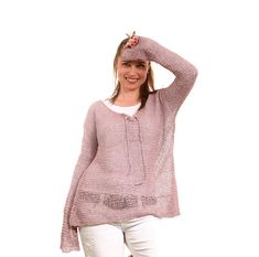 CIJ SALE  Knit Summer Sweater Knitted Linen Sweater by Solandia, $125.00