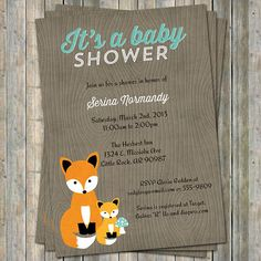 fox baby shower invitation woodland fox by freshlysqueezedcards, $13.00