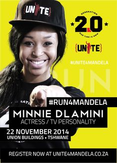 Actress and TV personality, Minnie Dlamini (@MinnieDlamini), shows her commitment to the #UNITE4MANDELA campaign.