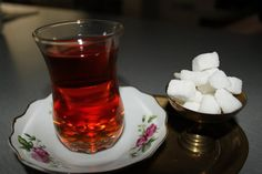 Traditional Persian tea glass. The way it is served.