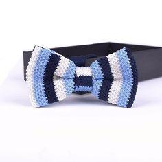 Handmade Knitted Bow Tie - Navy Blue, Light Blue, White Stripes – jackclass.com
