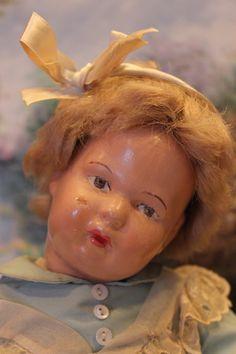 """15"""" tall Schoenhut wood doll, toddler, sweet outfit! cute face"""