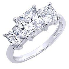 3.20 Ct Three Stone Princess Cut Ring Engagement Wedding Band 14K White Gold by JewelryHub on Opensky