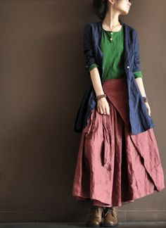 Linen Irregular Long Skirt Dark Pink Women Clothing by deboy2000, $71.00