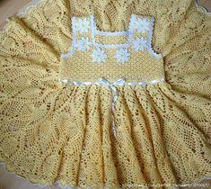 crochelinhasagulhas: Vestido amarelo em crochê para menina