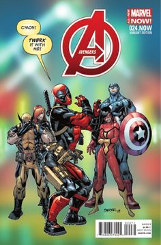 """AVENGERS 24.NOW - Rogue Planet Part 1 of 5 JONATHAN HICKMAN (W) • ESAD RIBIC (A/C)  DEAPOOL VARIANT BY Carlo Barberi """"ROGUE PLANET"""" - Part 1 of 5 • Captain America and Iron Man plan for the next version of the Avengers. • A runaway planet is on a collision course with Earth. • A visitor from the future helps save the day."""