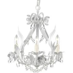 Harrison Lane Wrought Iron and Crystal White Floral 4 Light Chandelier from Sam's Club 18 product reviews White · Crystal · Mini · 4 light Garden collection.Finish: White.Design: Floral.Number of lights: 4.Wattage: 40.Can be mounted to the ceiling and needs to be hardwired.Chandelier Type: Crystal chandelier. ...more » Other options  $73.88 +$8.18 tax and $16.98 shipping Sam's Club