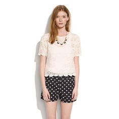 These cute dotted shorts are a perfect match for the rest of the outfit. (via @Madewell www.madewell.com)