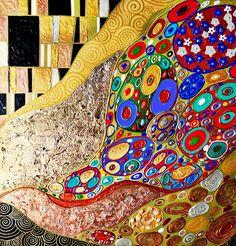 The gold ornament. Abstraction on Livemaster online shop Gustav Klimt, Klimt Art, Texture Painting Techniques, Art Techniques, Kunst Der Aborigines, Colorful Paintings, Aboriginal Art, Love Painting, Acrylic Art