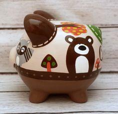 Foxy y amigos artesanal mano pintado cerámica alcancía
