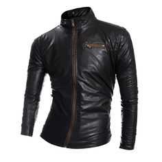 35.44$  Buy now - http://dipgt.justgood.pw/go.php?t=199336802 - Stand Collar Zip Pocket Faux Leather Jacket 35.44$