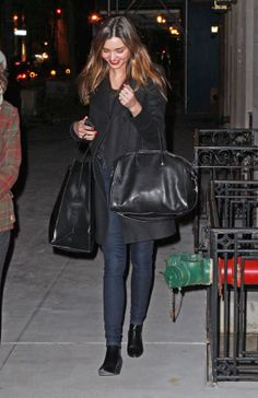 Miranda Kerr wearing Givenchy Wool-Blend Double Breasted Coat Givenchy Antigona Duffle SAINT LAURENT 40MM SL ROCK LOW BOOTS