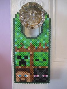 Minecraft Door Hanger Perler Beads by Angela Albergo Fuse Bead Patterns, Perler Patterns, Beading Patterns, Minecraft Perler, Minecraft Crafts, Minecraft Room, Diy Perler Beads, Perler Bead Art, Peler Beads