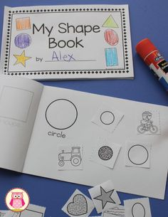 Children can complete the shape books by cutting the printable shapes and gluing them to the appropriate pages. In addition to the printable shapes.  You can also use shape stamps or stickers on each page. Dip shape cookie cutters or shape blocks in paint and print shapes on each page.  Cut shapes from a variety of textured materials (sandpaper, fuzzy fabric, satin, faux reptile print.  A great shape activity for preschool, pre-k, kindergarten, and tot school.
