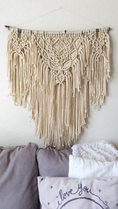 Big Boho Macrame Wall Hanging / Cream Shabby Chic Yarn