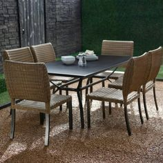 Maya Bronze & Wicker patio dining set - seats 6