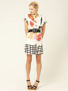 Alice + Olivia Candid Belted Silk Shirt Dress