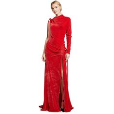 Monse Velvet Drawstring Gown (66.290 RUB) ❤ liked on Polyvore featuring dresses, gowns, gown, red, red long sleeve dress, long sleeve evening gowns, red long sleeve gown, long sleeve ball gowns and long-sleeve velvet dresses