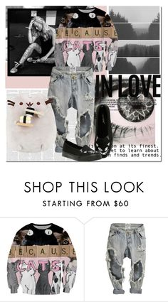"""Meow!"" by isabeldizova ❤ liked on Polyvore featuring Pink, cats, casualoutfit and grey"