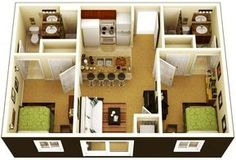 One Bedroom House Plans 14 Charming Design 1 Bedroom Home Designs images ideas from Home Inteior Ideas One Bedroom House Plans, 3d House Plans, Dream House Plans, Modern House Plans, Small House Plans, Small Apartment Plans, 2 Bedroom Apartment Floor Plan, 2 Bedroom Apartments, Apartment Design