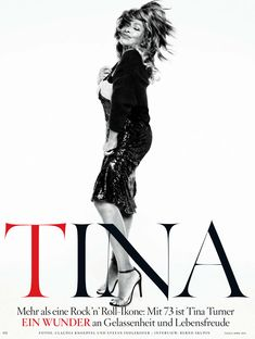 Cover story of German Vogue featuring the fantastic Tina Turner styled by Nicola Knels for Knoepfel & Indlekofer's shoot. This is Tina's first ever Vogue cover, who is now 73 years old!