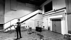 Studio 2 with the famous staircase. The window to the control room can be seen above. Some 'dude' playing in the 60's ;-) ;-)