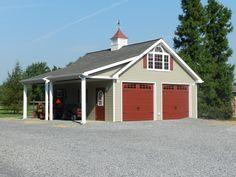 24x24 vinyl custom garage with upstairs attic truss for 24x28 garage plans