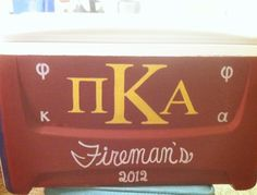 Cooler for my Pike bf's semi-formal (front) Traditional Pike logo (K is supposed to be larger than Pi and A)