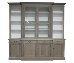 ECS Breakfront Dresser with Glass Doors Oak. A Block and Chisel Product.