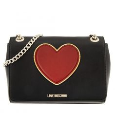 Love Moschino Shoulder Bag New Lamb PU Black in black, Handle Bags ($225) ❤ liked on Polyvore featuring bags, handbags, shoulder bags, black, handbags shoulder bags, shoulder handbags, man bag, heart purse and shoulder bag purse