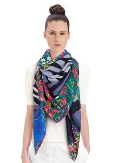 "2015 FW   Tyger Tyger   Cashmere and silk shawl, 55"" x 55"" (70% cashmere, 30% silk)   Alice Shirley   Ref: 242958S 04 Bleu Dur/Vert/Gris   US$1,100"