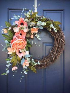 Spring Wreaths Spring Door Decor Spring Decorating Door Wreaths Coral Coral Colors Spring Decor Gift for Her Mother's Day Gift by WreathsByRebeccaB on Etsy Front Door Decor, Wreaths For Front Door, Front Doors, Front Porch, House Front, Summer Wreath, Spring Wreaths, Seasonal Decor, Holiday Decor