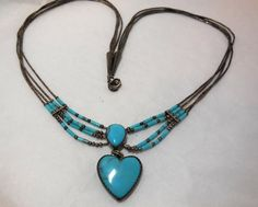 Vintage Turquoise & GORHAM Sterling Necklace Heart by JewlsinBloom, $102.95