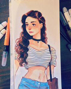 Art-N-Fly soft brush markers drawing illustration artwork videos Female Character Design, Character Drawing, Character Design Inspiration, Sketch Painting, Pretty Art, Types Of Art, Love Art, Pablo Picasso, Cool Drawings